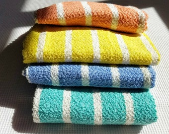 French Flea Market Towels - Bath Towels - Vintage Striped Towels - Old French Farmhouse - Seaside Cottage - Hand Towels - Guest Bathroom
