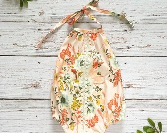 boho romper  // first birthday outfit girl //  sunsuit // baby romper // floral sunsuit // cake smash outfit