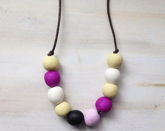 Round Bead Jewellery//Polymer Clay Bead Necklace//Multi Colored Beads/Valentine gift//Pastel  Beads//Gift for Mum//Mothers Day Gift