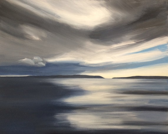 Puget Sound, sea painting, storm clouds, Northwest art, contemporary art, Acrylic painting, landscape, sea art, contemporary painting,