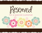 Reserved Listing for KRISTIN Y.