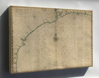 Canvas 24x36; Map Of The Gulf Coast From Florida To Mexico 1639