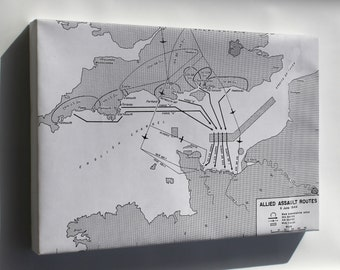 Canvas 24x36; D-Day Allied Assault Routes Map P2