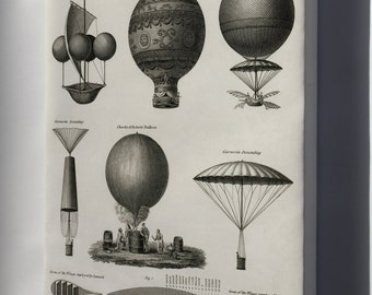 Canvas 24x36; Early Hot Air Balloons C1818