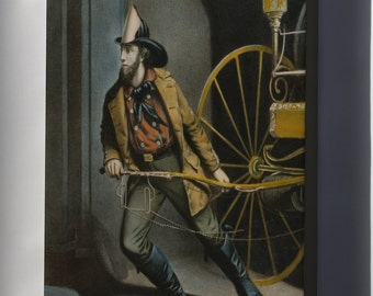 Canvas 24x36; American Fireman, Lithograph By Currier And Ives, 1858
