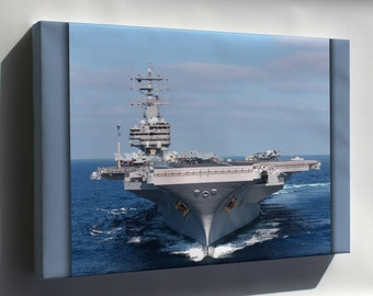 Canvas 24x36; Uss Ronald Reagan (Cvn 76) With Newly Painted Gold Anchors