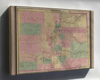 Canvas 16x24; Colton'S Map Of The State Of Colorado 1878