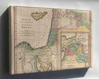 Canvas 16x24; Map Of Israel & Places From Books Of Moses 1826
