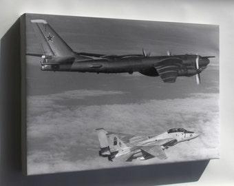 Canvas 16x24; Soviet Tupolev Tu-95 Bear D Intercepted By F-14A Tomcat 1985