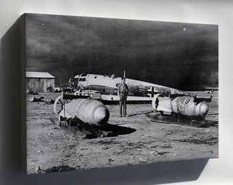 Canvas 16x24; He 111 Wreck W Bombs Benghazi 1943