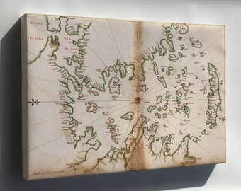 Canvas 16x24; Map Of Aegean Sea And Greece Islands 1630