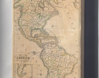 Canvas 16x24; Map Of America With United States 1860 In Greek