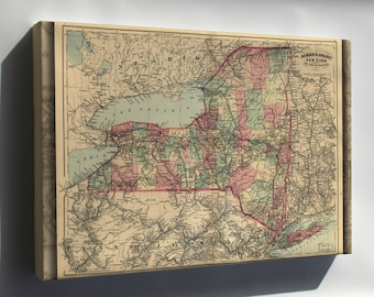 Canvas 16x24; Map Of New York State 1871