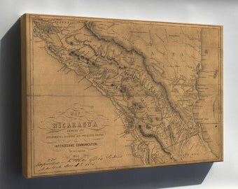 Canvas 16x24; Map Of Nicaragua 1851