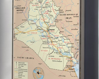 Canvas 16x24; Iraq United Nations Map