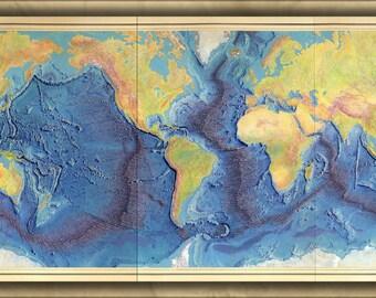 16x24 Poster; Heezen-Tharp World Ocean Floor Map By Berann 1977