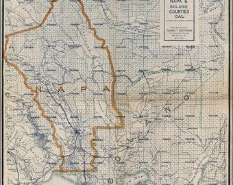 16x24 Poster; Map Of Napa & Solano Counties California 1908