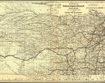 16x24 Poster; Map Of Atchison, Topeka & Santa Fé Rail Road In Kansas 1886