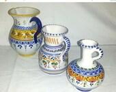Vintage Spanish Pottery Vase,3 PCS,Spain,Talavera,Spanish Pottery Pitcher,Talavera Pitcher,SpanishPottery,Folk Art,Majolica,Puente,Souvenir