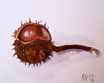 Chestnut Original Watercolor Painting Still Life by Aleksey Vaynshteyn