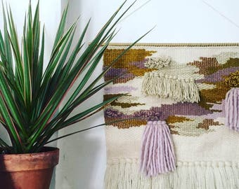 """16"""" x 28"""" Handwoven Wall Hanging / Tapestry Weaving (""""Trauma"""")"""