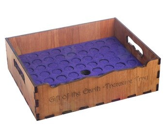 Essential Oil storage tray -holds 63 bottles-Made in USA,Deluxe Wood, holds 5ml 10ml 15ml and similar diameter roller bottles.