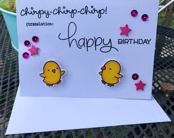 "Homemade ""Chicks with Sparkles"" Happy Birthday Greeting Card"