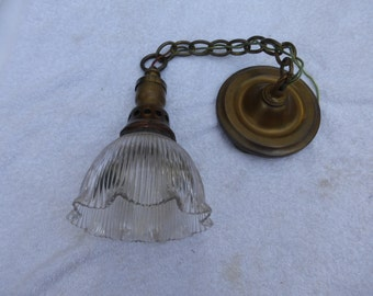Vintage Antique Holophane Glass Brass Pendant Light