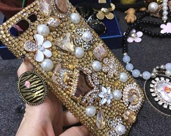 New Bling Golden Bag Sparkles Lovely Handbag Pearls Flowers Crystals Rhinestones Diamonds Fashion Luxury Hard Cover Case for Mobile Phone