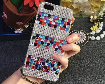 Bling Colorized Cute AB Chic Gems Luxury Gemstones Crystals Rhinestones Diamonds Fashion Lovely Jewelry Hard Cover Case for Mobile Phones