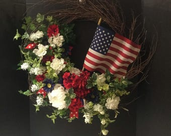 Red White & Blue Wreath - Patriotic Wreath for Front Door - Fun Wreath for 4th of July, Memorial Day, Labor Day