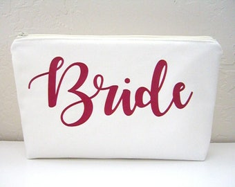 Bride Makeup Bag - Wedding Makeup Pouch - Bridal Gift - Bride Cosmetic Bag - Personalized Bride Bag - Bride Toiletry Bag - Bride To Be Gift
