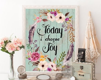 Items similar to Today I Choose Joy Calligraphy Print ...