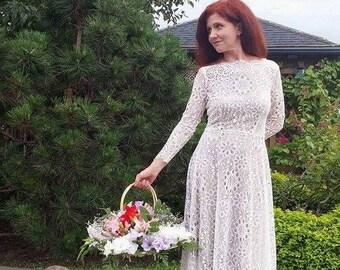 Vintage Inspired Tea Length Lace Wedding Dress ,Lace dress women.evening dress .party clothes .elegant dress, Midi cocktail dress