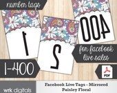 Facebook Live Numbers, Mirrored Image 1-400, Fashion Consultant, Paisley Floral Design, INSTANT DOWNLOAD