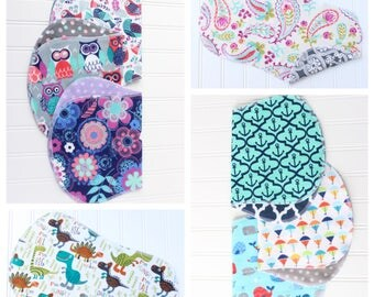 You Pick - Set of 12 Baby Burp Cloths - Over 50 to Pick From - Baby Shower Gift - Baby Gift - Woodland - Aztec - Tribal - Nautical