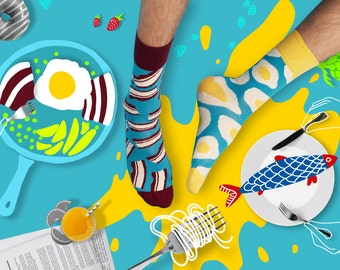 Brekker Socks, Mismatched Socks, Colorful socks for women and men, Bacon Socks, Egg Socks, Patterned  men socks, Women Socks, Free delivery!