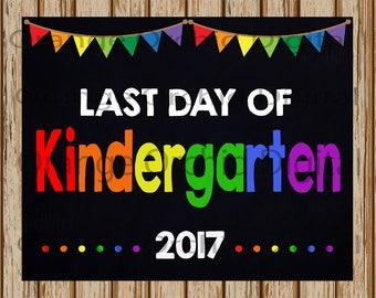 "INSTANT DOWNLOAD- Last Day of Kindergarten Sign- School Chalkboard sign- School Digital Sign- School Photography Prop-8"" x 10"" image-Digital"