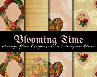 Blooming Time Paper Pack - suitable for printable wrapping paper, digital scrapbooking & mini albums