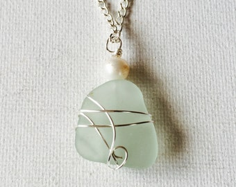 Hawaii Sea Foam Sea Glass Silver Wire Wrapped Necklace With Freshwater Pearl