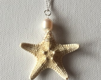 Hawaii Real Starfish Silver Wire Wrapped Necklace With Large 10mm Freshwater Pearl