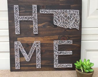 Made to order string art HOME sign with string art state- choose any state!!