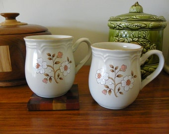Pair Of Vintage Stoneware Mugs With Pink, White, Brown Flowers - Set Of Two - Coffee Cups