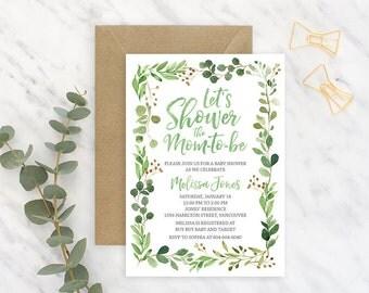 Green Gender Neutral Baby Shower Invitation, Greenery Baby Shower Invitation, Rustic Baby Shower Invitation, Printable Baby Shower GRNBS