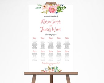 Summer Wedding Seating Chart, Floral Wedding Seating Sign, Watercolor Wedding Seating Plan, Rustic Wedding Seating Chart Template WTRTB