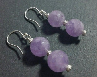 Faceted Amethyst & Sterling Silver Stardust Drop/Dangle Earrings