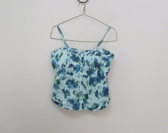 90's Spaghetti Strap Tank Top Summer Top Stretchy Back Tagged Misses Size L but Runs S Adjustable Straps See DETAILS