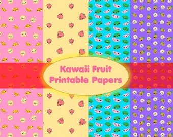 Kawaii Fruit Digital Paper, Printable for Scrapbooking