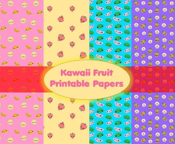 Kawaii Fruit Digital Paper, Printable for Scrapbooking
