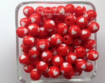 12mm Red Heart Beads, Valentine's Day Heart Beads,  Mini Chunky Beads ,Set of 10 20 or 50, Bubble Gum Beads, Heart Beads